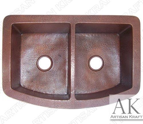 Modern-Double-Bowl-Hammered-Copper-Kitchen-Sink