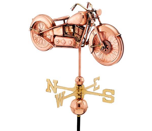 Motorcycle-Weathervane-Polished-Copper