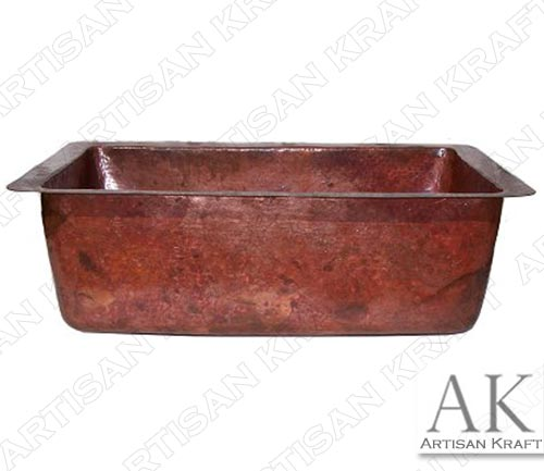 Natural Color Bottom Rounded Hammered Copper Kitchen Sink