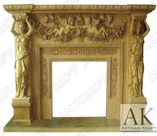 Ornate Statue Marble Fireplace Mantel