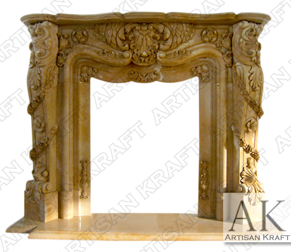 Pasadena Beige Marble Fireplace Mantel