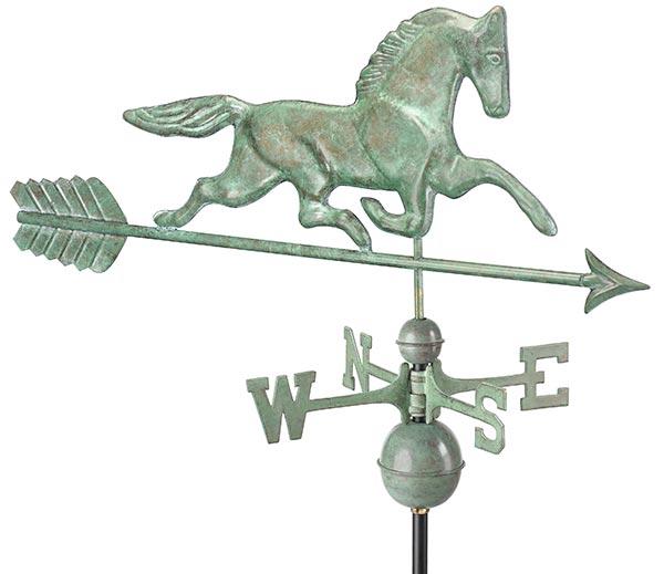 Patchen-Horse-Weathervane-with-Arrow-Blue-Verde-Copper