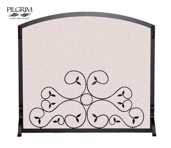 Pilgrim-Applique-Scroll-Single-Panel-Fireplace-Screen