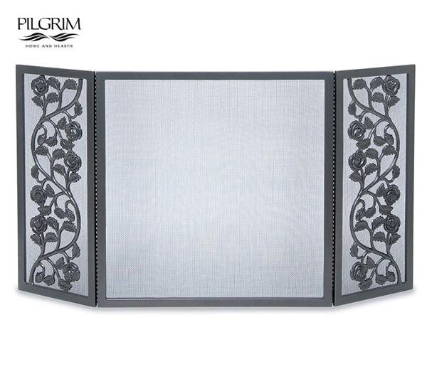 Pilgrim-Cast-Rose-Tri-Panel-Fireplace-Screen
