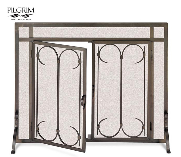Pilgrim-Iron-Gate-Straight-Fireplace-Door-Screen