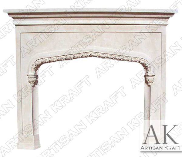 Rose Tudor Stone Fireplace Mantel