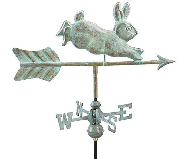 Rabbit-Garden-Weathervane-Blue-Verde-Copper-w-Garden-Pole