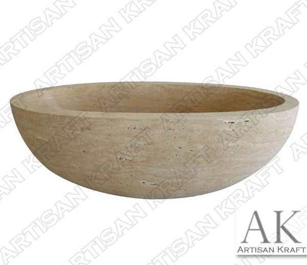 Travertine Oval Freestanding Bathtub