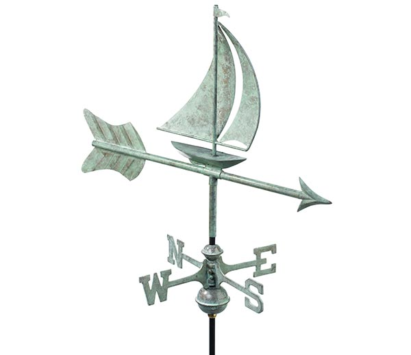 Sailboat-Garden-Weathervane-Blue-Verde-Copper-w-Garden-Pole