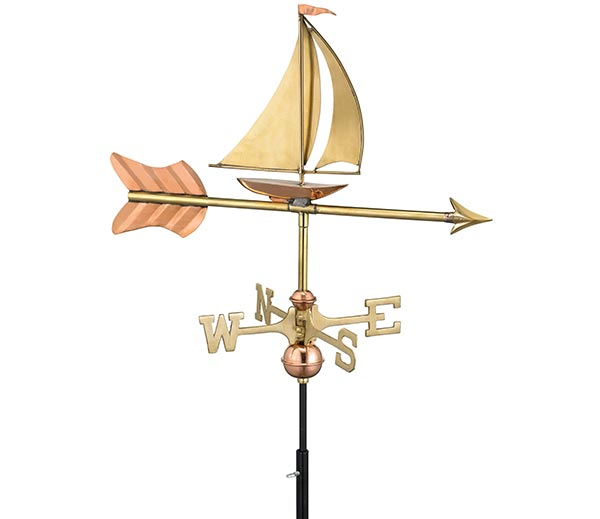 Sailboat-Garden-Weathervane-Polished-Copper-w-Garden-Pole