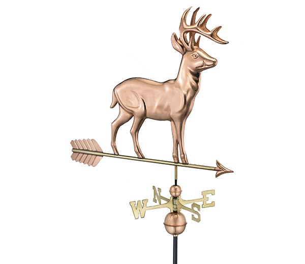 Standing-Deer-Weathervane-with-Arrow-Polished-Copper