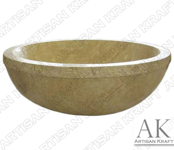 Travertine Round Bathtub