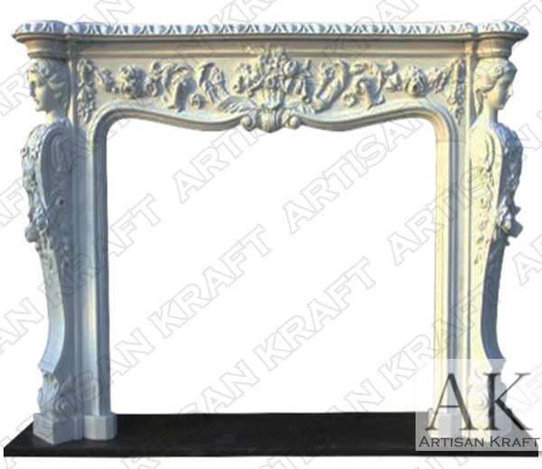 Victorian White Marble Fireplace Mantel
