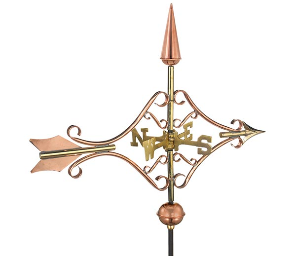Victorian-Arrow-Cottage-Weathervane-Polished-Copper-w-Roof-Mount
