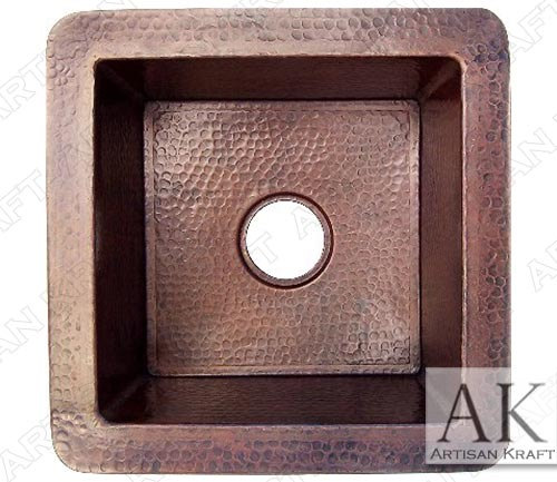 Weathered Undermount Hammered Copper Kitchen Sink