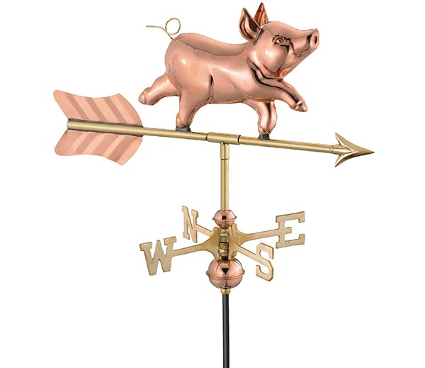Whimsical-Pig-Garden-Weathervane-Polished-Copper-w-Garden-Pole