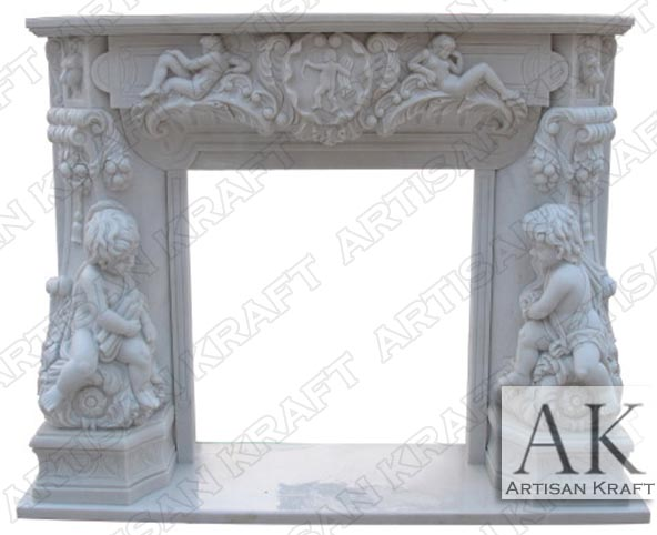 Angel Cherubim White Marble Carved Mantel