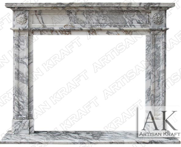 English Regent Arabescato Mantel Fireplace